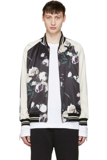 Lad Musician - Reversible Multicolor Floral Satin Bomber Jacket