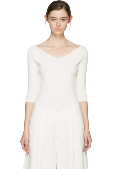 Studio Nicholson - Ivory Off-The-Shoulder Pullover