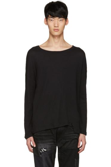 Diet Butcher Slim Skin - Black Asymmetric Loose Pullover