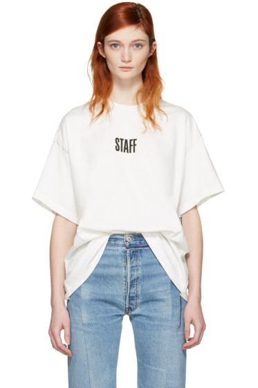 Vetements - White Hanes Edition Quick Made Oversized 'Staff' T-Shirt