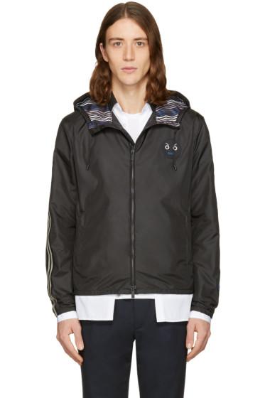 Fendi - Black Hooded Zig Zag Jacket