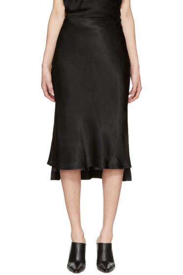 Protagonist - Black Bias Cut Slip Skirt