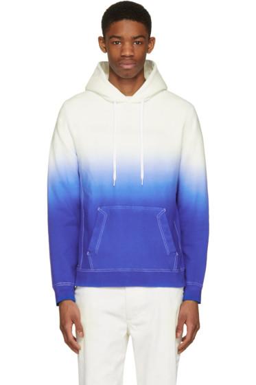 Ganryu - White & Blue Tie-Dye Degradé Hoodie