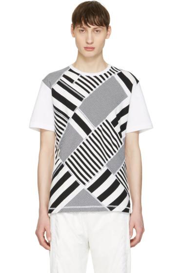 Ganryu - Black & White Multi Striped T-Shirt