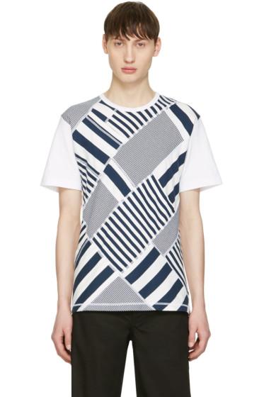Ganryu - Navy & White Multi Striped T-Shirt