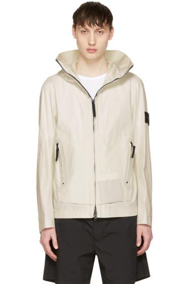 Stone Island - White Zip Pockets Jacket