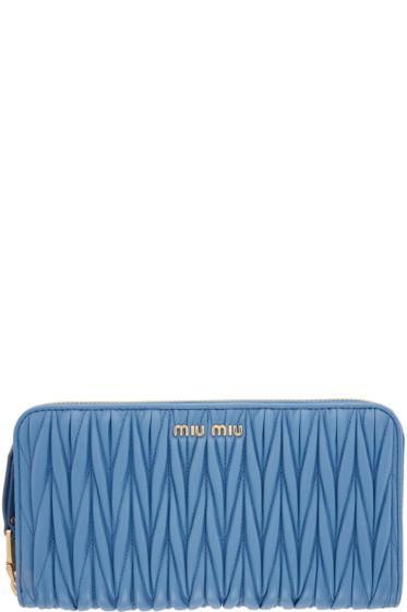Miu Miu - Blue Matelassé Zip Wallet
