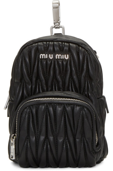Miu Miu - Black Leather Mini Matelassé Backpack