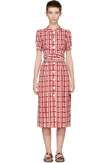 Miu Miu - Red Printed Bow Dress