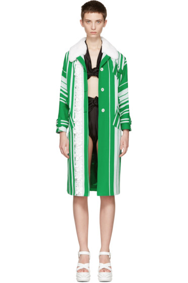 Miu Miu - Green & White Embellished Floral Coat