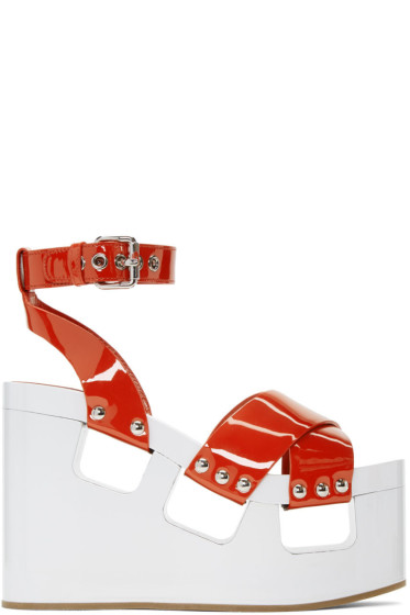 Miu Miu - Red & White Wedge Sandals