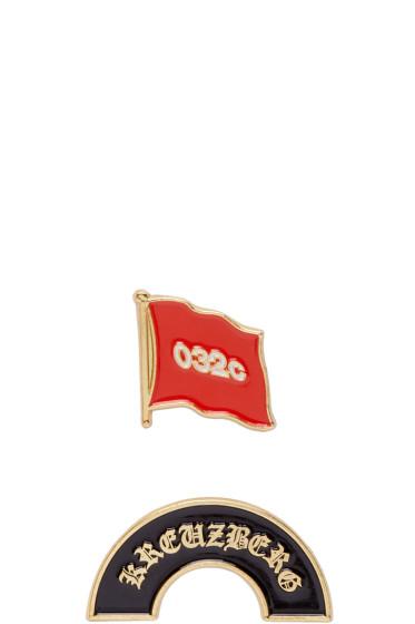032c - Set of Two Gold Enamel Pins