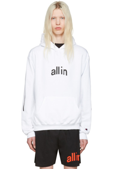 all in - White Champion Edition Logo Hoodie