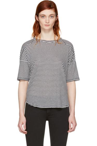 Rag & Bone - White & Navy Striped Valley T-Shirt