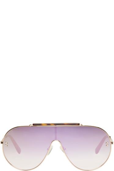 Stella McCartney - Rose Gold Oversized Shield Aviator Sunglasses