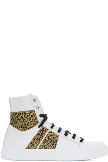 Amiri - White & Leopard Sunset High-Top Sneakers