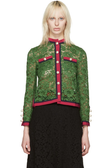 Gucci - Green Lace Ribbon Jacket
