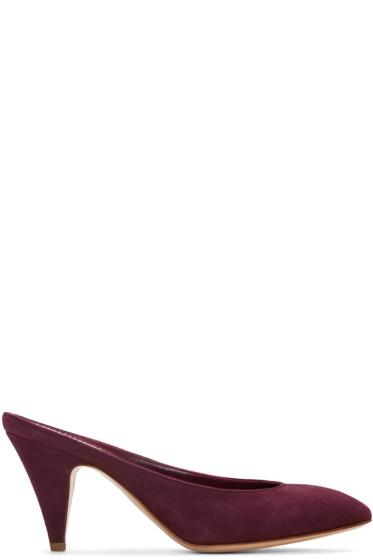 Mansur Gavriel - Purple Suede Classic Slipper Heels