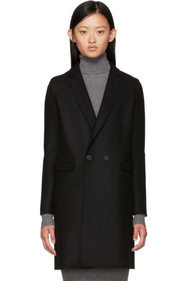 Harris Wharf London - Black Wool Double-Breasted Coat
