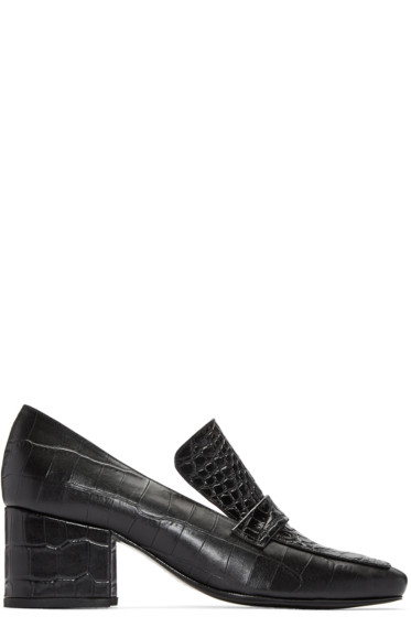 Dorateymur - Black Python-Embossed Turbojet Heels