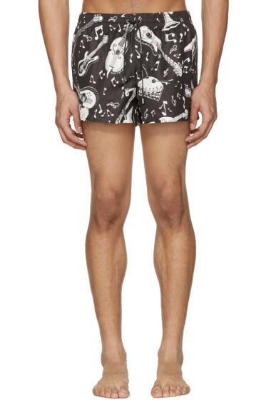 Dolce & Gabbana - Black & White Instrument Swim Shorts