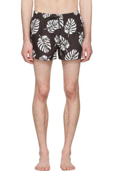 Dolce & Gabbana - Black Leaf Swim Shorts
