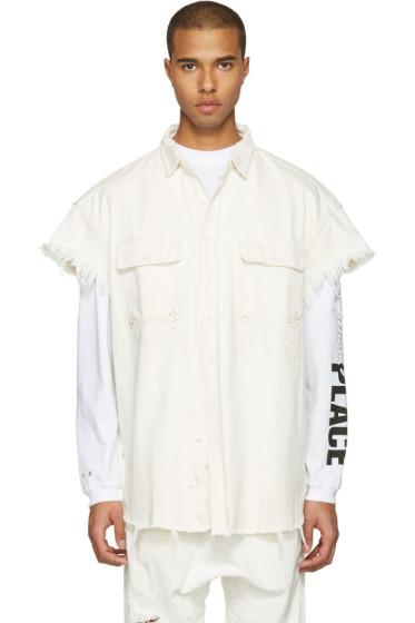 R13 - White Denim Oversized Cut-Out Trucker Shirt