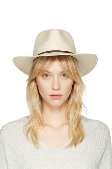 Rag & Bone - Beige Packable Straw Fedora