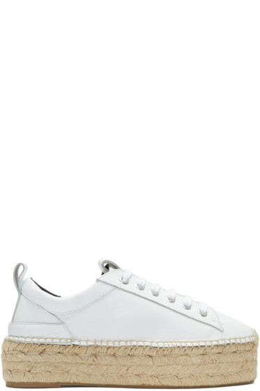 McQ Alexander McQueen - White Sade Flatform Espadrilles