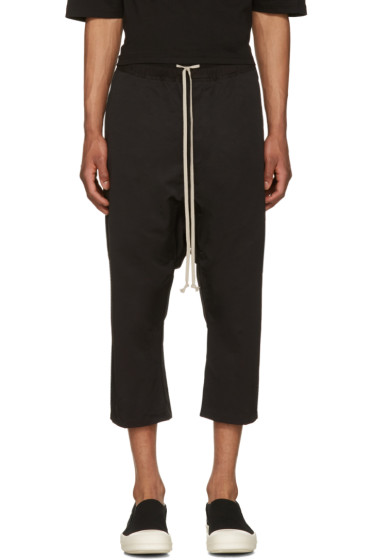 Rick Owens Drkshdw - Black Drawstring Cropped Trousers