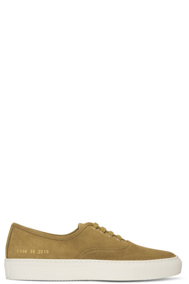 Common Projects - Tan Suede Tournament Four Hole Sneakers