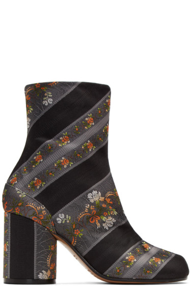Maison Margiela - Grey Jacquard Floral Tabi Boots