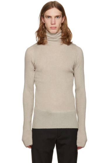 Maison Margiela - Grey Oversized Ribbed Turtleneck