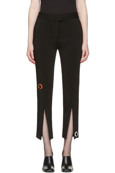 Christopher Kane - Black Eyelet Split Seam Trousers