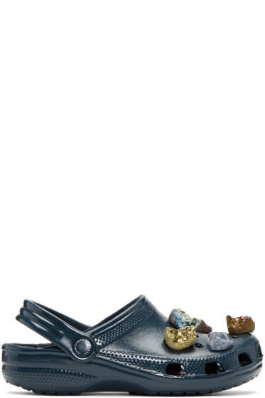 Christopher Kane - Navy Stone Embellished Crocs Clogs