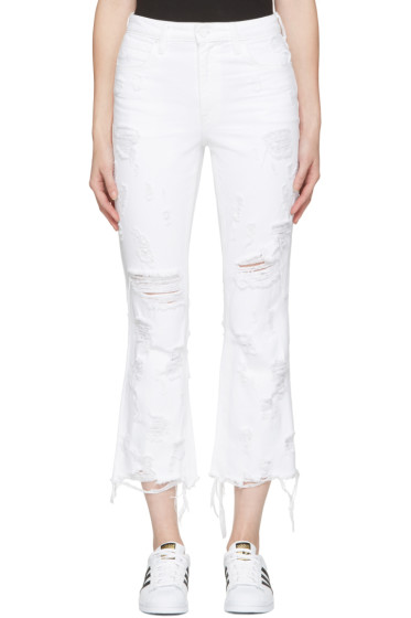 Alexander Wang - White Scratch Grind Jeans