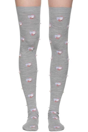Marc Jacobs - Grey Pearl Thigh-High Socks