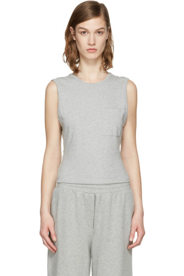 T by Alexander Wang - Grey Open Back Twist Tank Top
