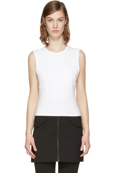 T by Alexander Wang - White Open Back Twist Tank Top