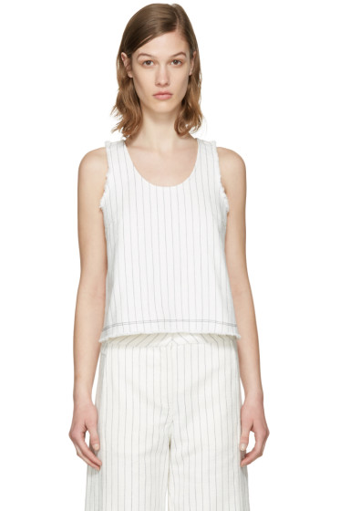 T by Alexander Wang - White Cropped Cotton Burlap Tank Top