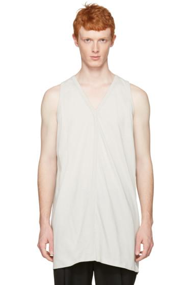 Rick Owens - White Oversized V-Neck Tank Top