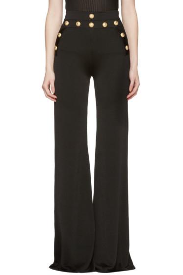 Balmain - Black Gold Buttons Knit Trousers