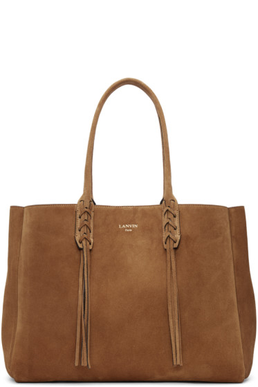 Lanvin - Tan Suede Small Shopper Tote