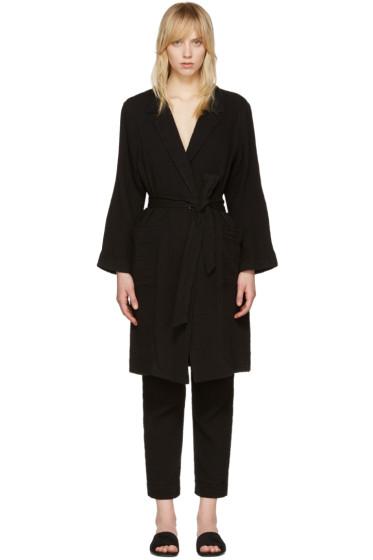Raquel Allegra - Black Gauze Short Trench Coat