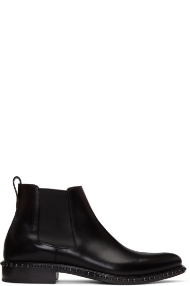 Givenchy - Black Lizard Iconic Stud Chelsea Boots