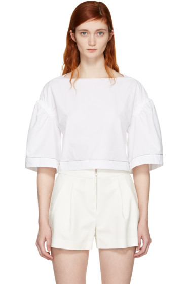 3.1 Phillip Lim - White Wide Sleeve Ruched Blouse
