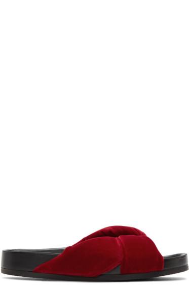 Chloé - Red Velvet Nolan Slide Sandals
