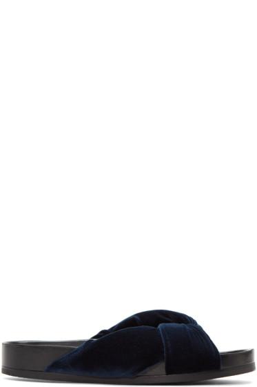 Chloé - Blue Velvet Nolan Slide Sandals