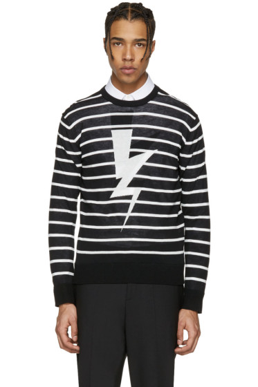 Neil Barrett - Black Striped Thunderbolt Pullover