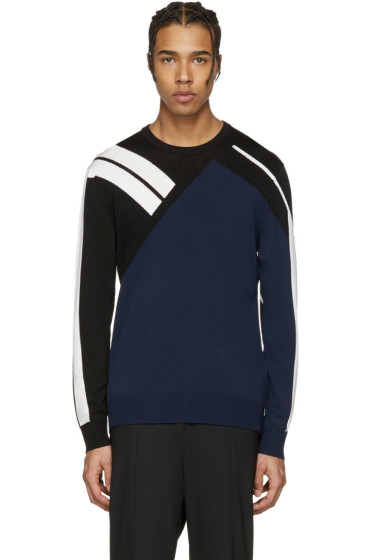 Neil Barrett - Navy Panelled Modernist Pullover